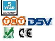 Une garantie de 5 ans, livraison, CE et les logos RoHS